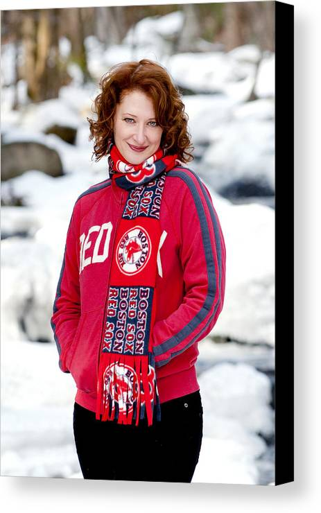 City Canvas Print featuring the photograph Red Sox Girl by Greg Fortier