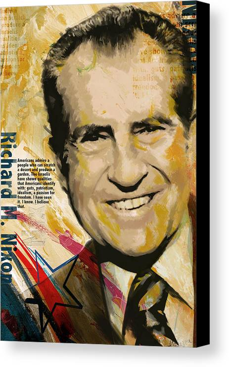 Richard Nixon Canvas Print featuring the painting Richard Nixon by Corporate Art Task Force