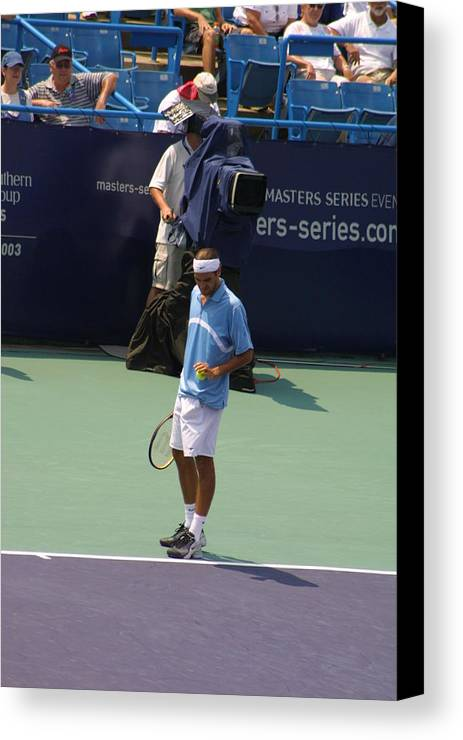 Roger Federer Canvas Print featuring the photograph Roger Federer After 1st Slam by Rexford L Powell