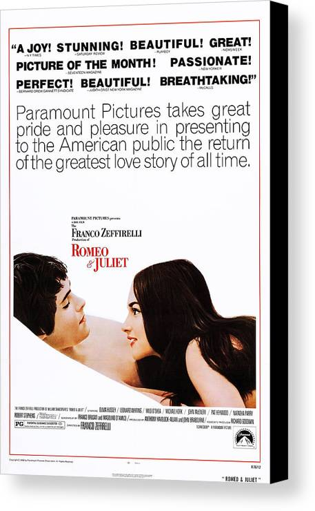 1960s Movies Canvas Print featuring the photograph Romeo And Juliet, Us Poster, From Left by Everett