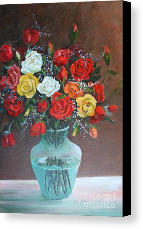 Colorful Roses Canvas Print featuring the painting Roses by Marta Styk