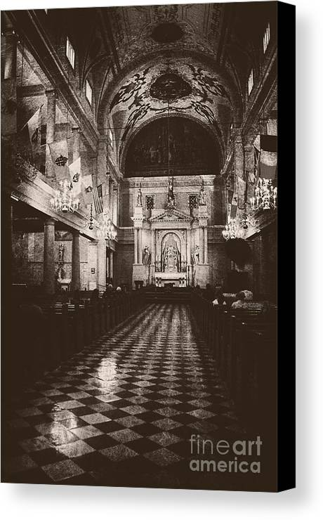 Church Canvas Print featuring the photograph Saint Louis Cathedral New Orleans Black And White by Kathleen K Parker