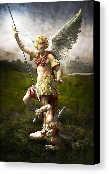 Angel Canvas Print featuring the photograph Saint Michael's Triumpf by Marc Huebner