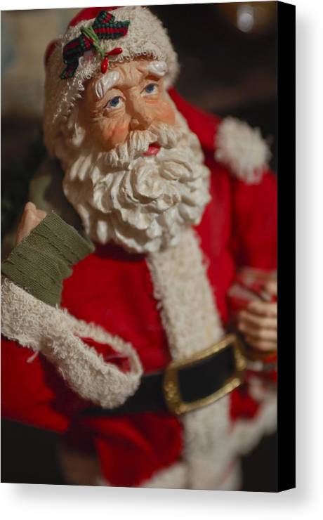 Santa Claus Canvas Print featuring the photograph Santa Claus - Antique Ornament - 02 by Jill Reger