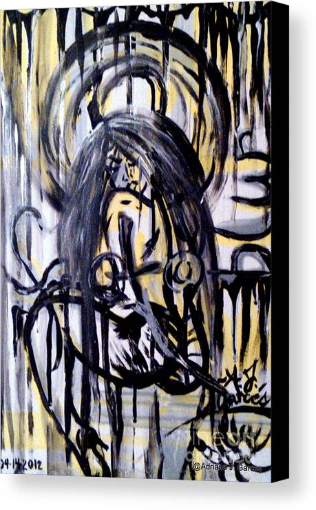 Figurative-abstract Canvas Print featuring the painting Sarge-7 On Fotoblur by Adriana Garces