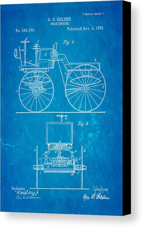 Automotive Canvas Print featuring the photograph Selden Road Engine Patent Art 1895 Blueprint by Ian Monk