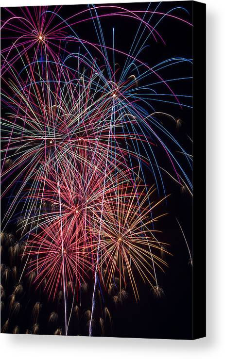 Fireworks Lights Up The Darkness Canvas Print featuring the photograph Sky Full Of Fireworks by Garry Gay