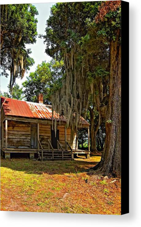Evergreen Plantation Canvas Print featuring the photograph Slave Quarters by Steve Harrington