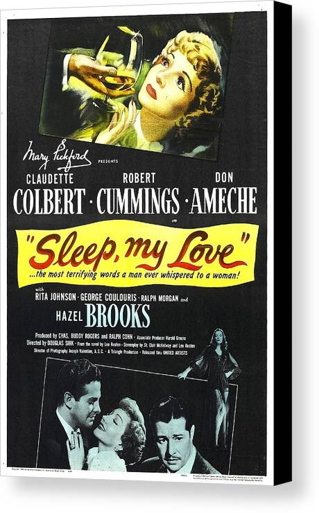 1940s Movies Canvas Print featuring the photograph Sleep, My Love, Us Poster, Bottom by Everett