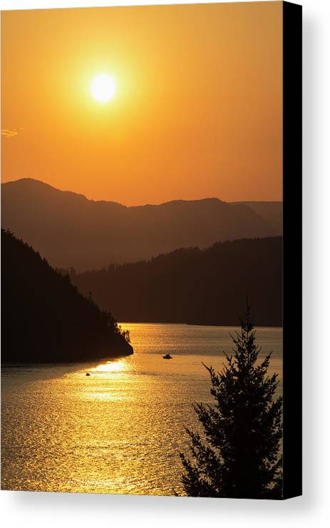 Sun Canvas Print featuring the photograph Smoke From Bc Wildfires Adds Colour by Bill Collins