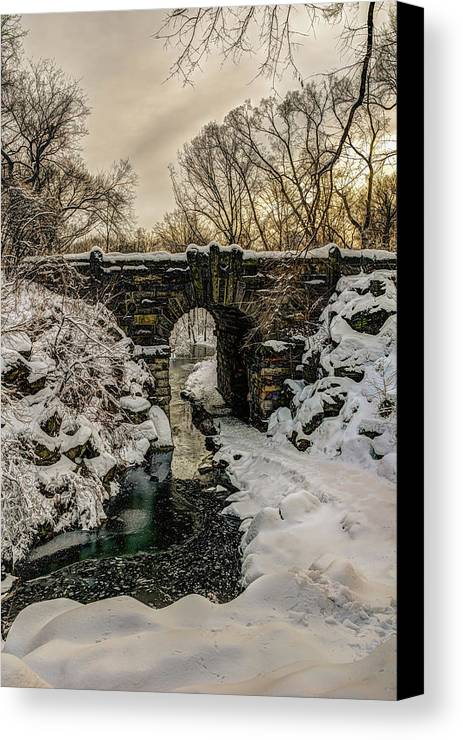 Bridge Canvas Print featuring the photograph Snow-covered Glen Span Arch, Central by F. M. Kearney