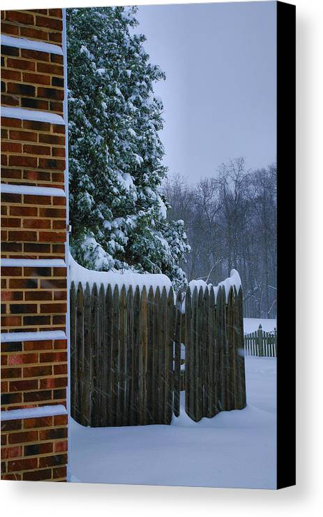 Snow Canvas Print featuring the photograph Snowy Corner by Steven Ainsworth