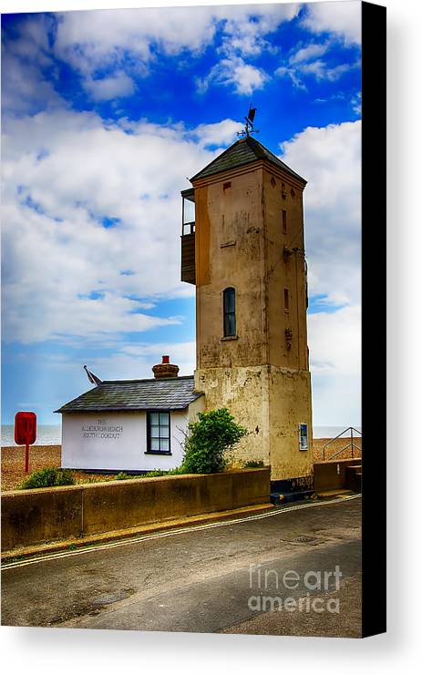 Aldeburgh Canvas Canvas Print featuring the photograph South Lookout Tower Aldeburgh Beach by Chris Thaxter