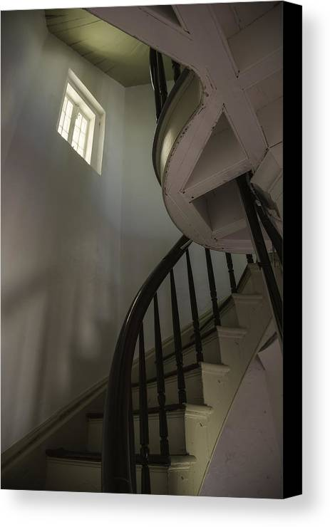 Spiral Stairs. Lighthouse Interior Canvas Print featuring the photograph Stairway To Heaven by Kellianne Hutchinson