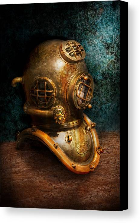 Hdr Canvas Print featuring the photograph Steampunk - Diving - The Diving Helmet by Mike Savad