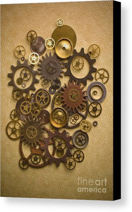Gears Canvas Print featuring the photograph Steampunk Gears by Diane Diederich