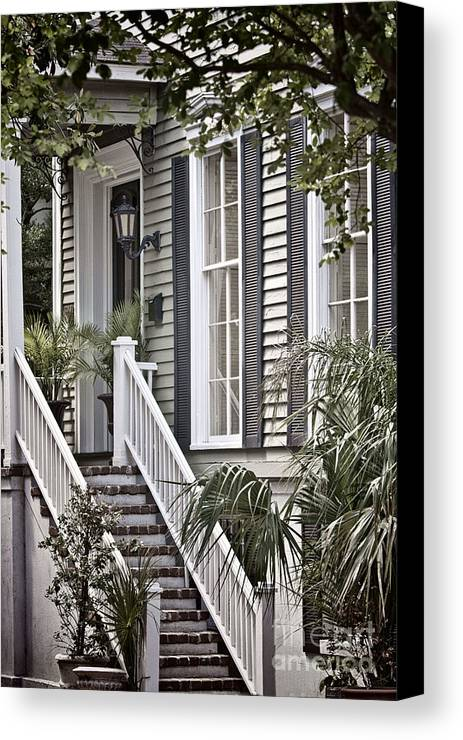 House; Home; Exterior; Outside; Outdoors; Steps; Stairs; Staircase; Brick; Wood; Rail; Railing; Side; Windows; Siding; Door; Light; Entrance; Facade; Entry; Plants; Green; Nature; Trees; Welcome; Lovely; Beautiful Canvas Print featuring the photograph Step Up by Margie Hurwich