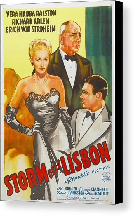 1940s Movies Canvas Print featuring the photograph Storm Over Lisbon, Us Poster, From Left by Everett