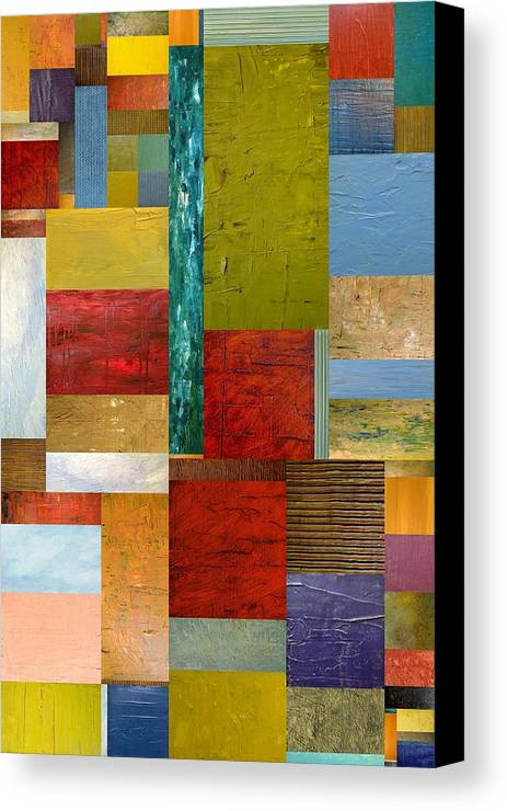 Textural Canvas Print featuring the painting Strips And Pieces Lll by Michelle Calkins
