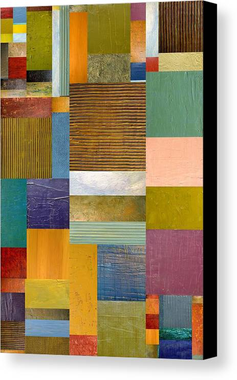 Textural Canvas Print featuring the painting Strips And Pieces Lv by Michelle Calkins