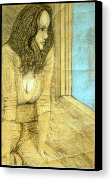 Girl Canvas Print featuring the mixed media Stuck Inside These 4 Walls by Wayne Vincent