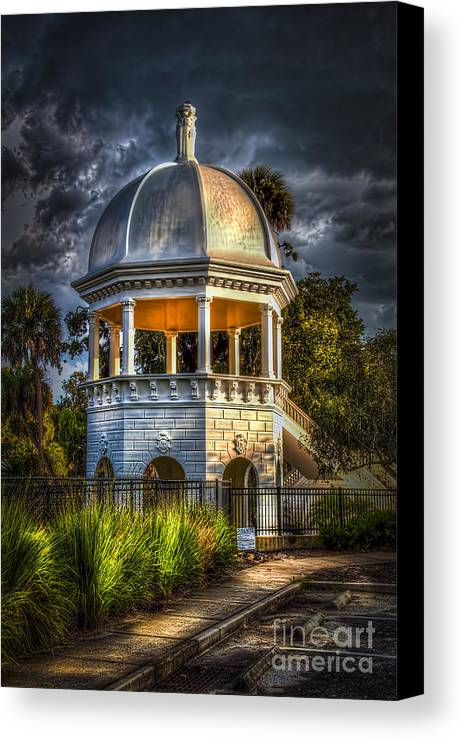 Gazebo In Sulfur Springs Canvas Print featuring the photograph Sulfur Springs Gazebo by Marvin Spates