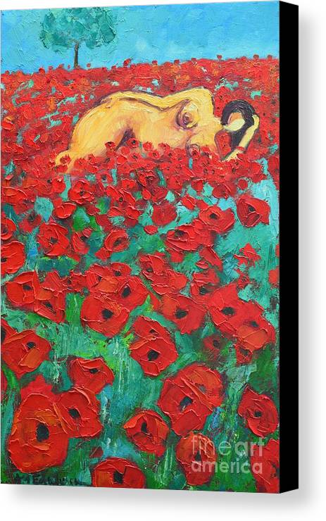 Nude Canvas Print featuring the painting Summer Dream 2 by Ana Maria Edulescu