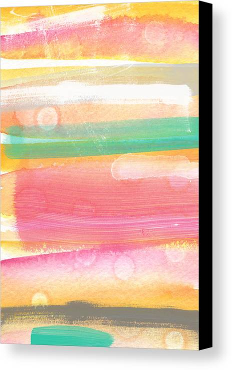 Abstract Painting Canvas Print featuring the painting Sunday In The Park- Contemporary Abstract Painting by Linda Woods