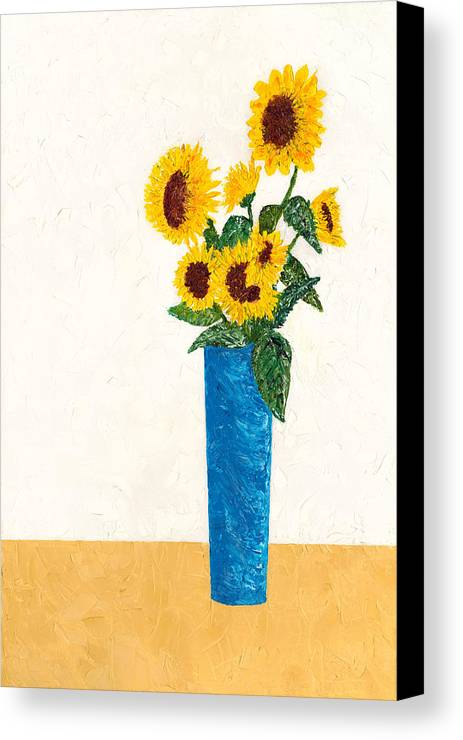 Sun Flower Canvas Print featuring the painting Sunflower by Guy LeFebvre
