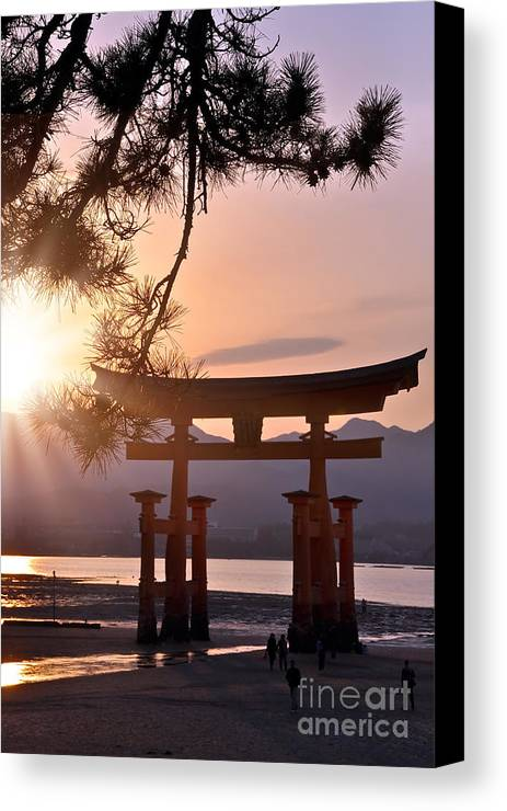Japan Canvas Print featuring the photograph Sunset At Miyajima by Delphimages Photo Creations