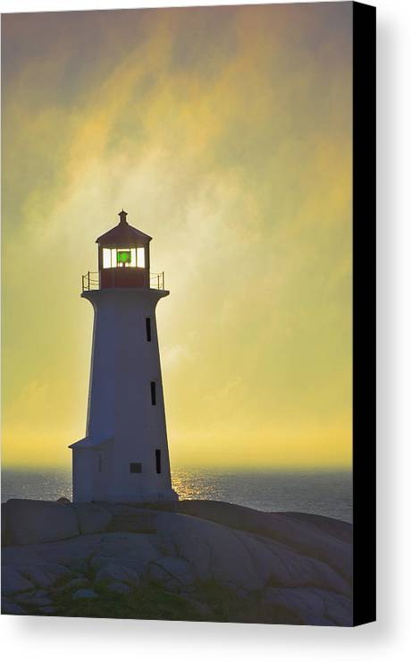 Beacons Canvas Print featuring the photograph Sunset Over Peggys Cove Lighthouse by Thomas Kitchin & Victoria Hurst