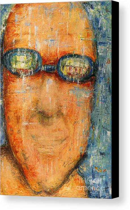Goggle Canvas Print featuring the painting Swimmer - 2012 by Nalidsa Sukprasert
