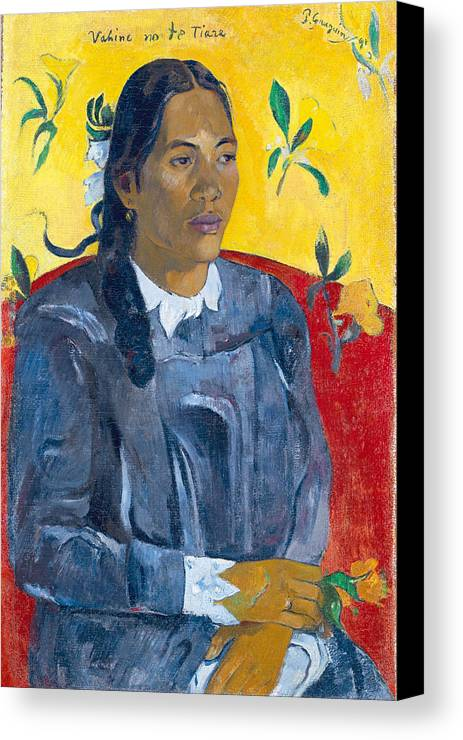 Paul Gauguin Canvas Print featuring the painting Tahitian Woman With A Flower by Paul Gauguin