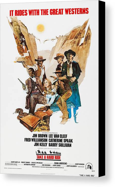 1970s Poster Art Canvas Print featuring the photograph Take A Hard Ride, Us Poster, From Left by Everett