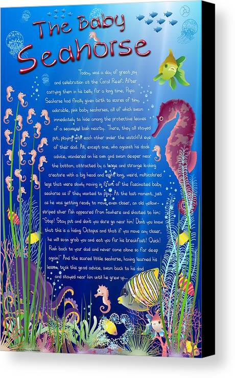 Seahorse Canvas Print featuring the digital art Tale-on-a-poster / The Baby Seahorse by Helena Kay