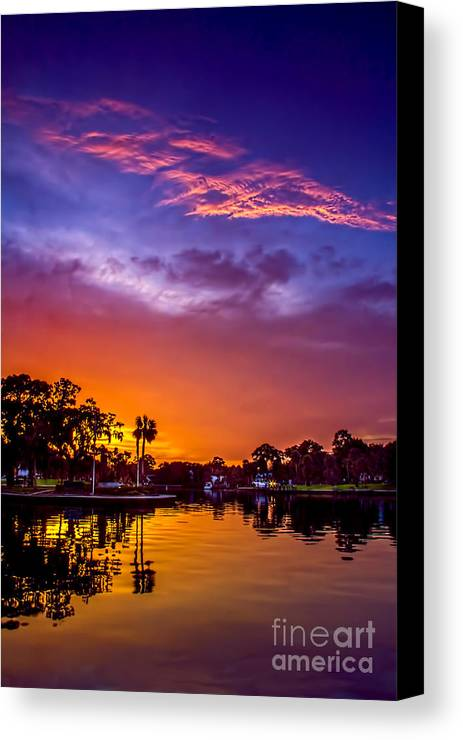 Sunset Canvas Print featuring the photograph Tarpon Springs Glow by Marvin Spates