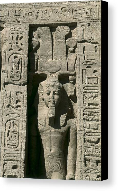 Vertical Canvas Print featuring the photograph Temple Of Nefertari Dedicated by Everett