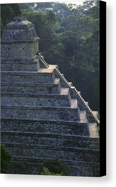 Vertical Canvas Print featuring the photograph Temple Of The Inscriptions. Mexico by Everett
