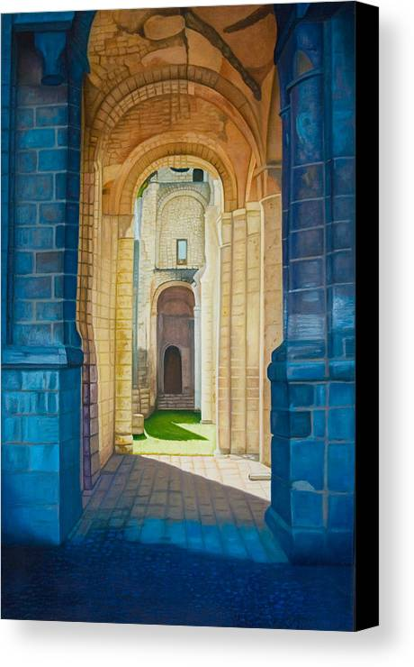 Architecture Canvas Print featuring the painting The Arches Of The Abbey At Jumieges by Stephen Degan