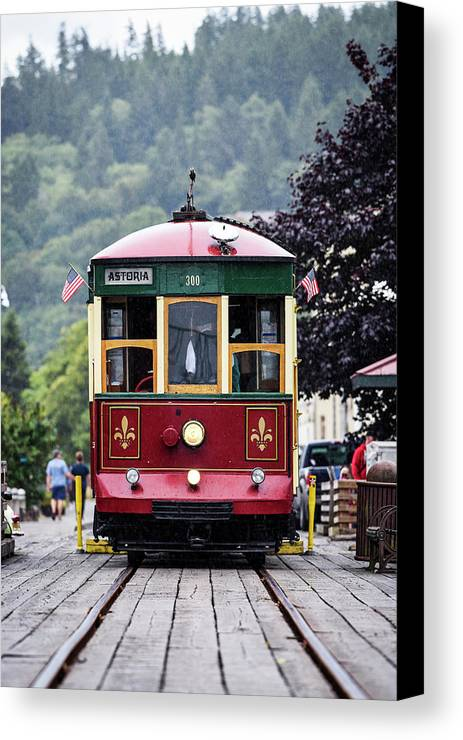Pacific Northwest Canvas Print featuring the photograph The Astoria Trolley Running by Robert L. Potts