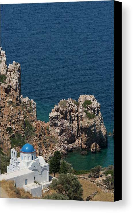 Ocean Canvas Print featuring the photograph The Blue Domed Church At The Water S by Ellen Rooney