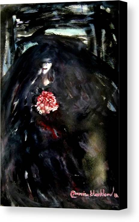 Women Canvas Print featuring the painting The Bride In Black by Wanvisa Klawklean