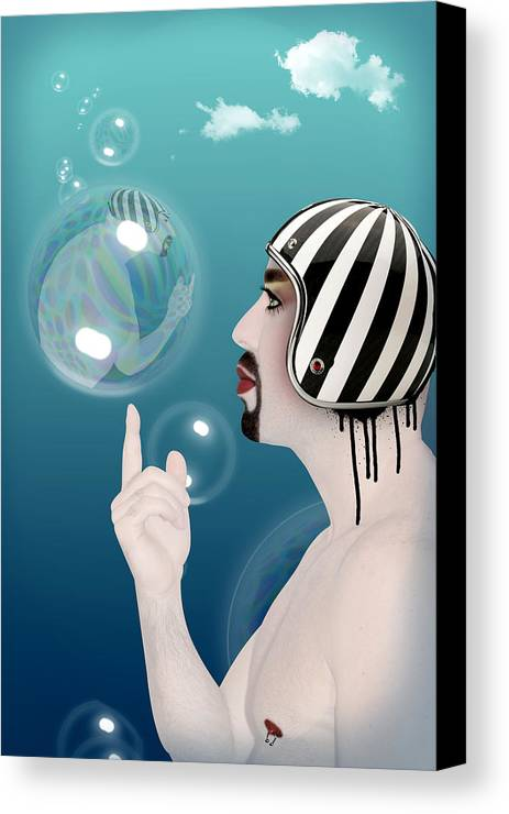 Funny Canvas Print featuring the digital art the Bubble man by Mark Ashkenazi