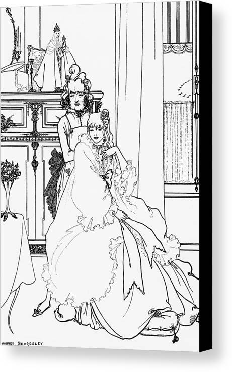Aubrey Canvas Print featuring the drawing The Coiffing by Aubrey Beardsley