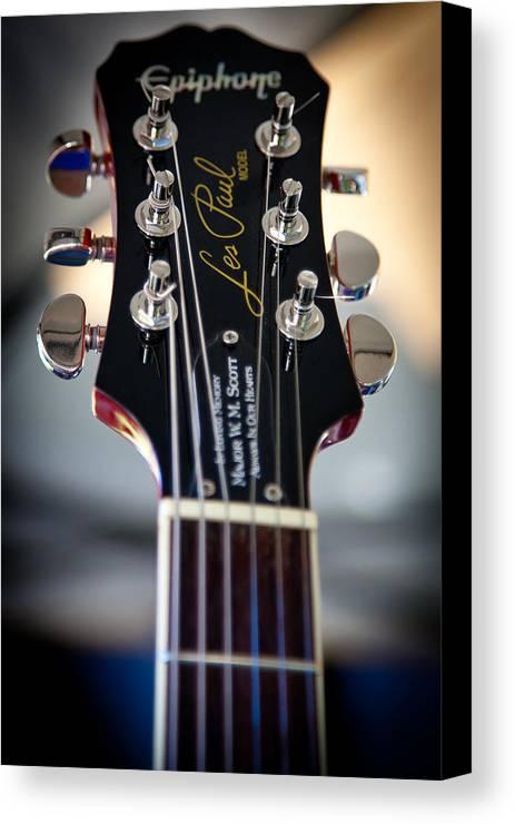 The Epiphone Les Paul Guitars Canvas Print featuring the photograph The Epiphone Les Paul Guitar by David Patterson