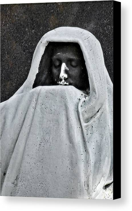 Graveyard Canvas Print featuring the photograph The Face Of Death - Graceland Cemetery Chicago by Christine Till