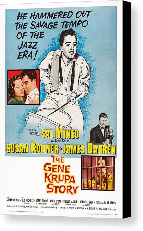 1950s Poster Art Canvas Print featuring the photograph The Gene Krupa Story, Us Poster Art by Everett