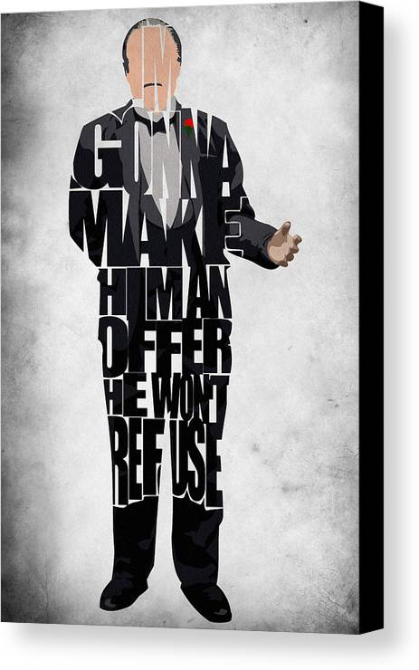 The Godfather Marlon Brando Canvas Print featuring the painting The Godfather Inspired Don Vito Corleone Typography Artwork by Ayse and Deniz