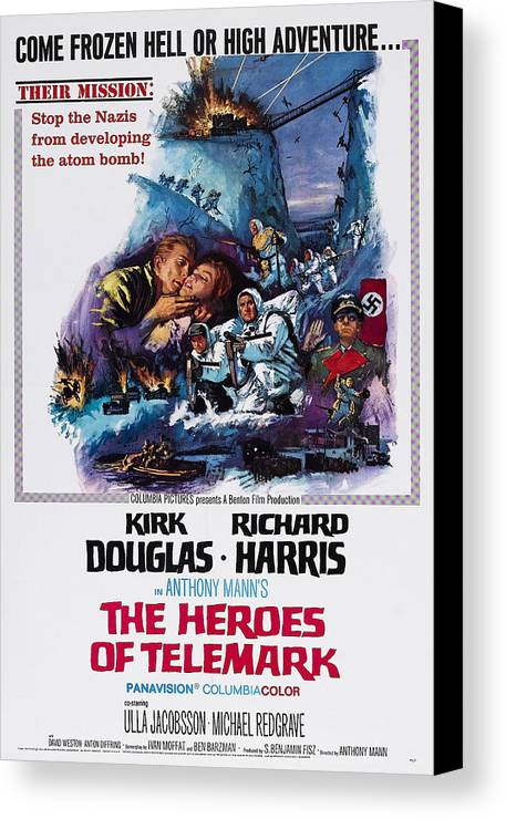 1960s Movies Canvas Print featuring the photograph The Heroes Of Telemark, Us Poster Art by Everett