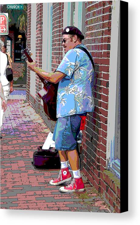 Music Canvas Print featuring the photograph The Music Man And His Red Shoes by Suzanne Gaff